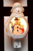 Festive White Porcelain Snowman with Kids Playing Plug-in Night Light