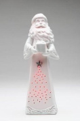 7.6cm White and Pink Santa Statue with LED Lighting Collectible