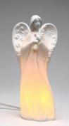 Festive White Porcelain Angel Holding Cross Plug-in Night Light
