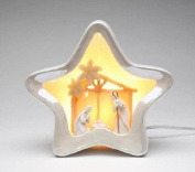 White Star Shaped Night Light Featuring the Nativity Scene Collectible