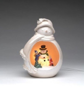 Festive White Porcelain Snowman with Kids Playing Night Light