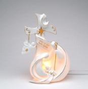 Festive White Porcelain Holy Family Cross Decorative Night Light