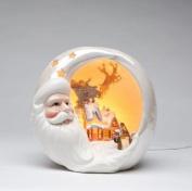 Festive Porcelain Santa Half Moon with Winter Scene Night Light
