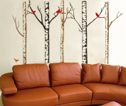 WallStickersUSA Contemporary Wall Sticker Decal, Tree Trunks and Colourful Birds, X-Large