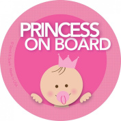 Baby on Board Car Sticker - Brunette Princess on Board - Modern and Unique - Bright Colours