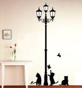 1 X Black Cat Design Picture Art Peel & Stick Wall Sticker DIY Vinyl Wall Decal Applique 33x60cm