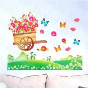 [Flower Handcart] Decorative Wall Stickers Appliques Decals Wall Decor Home Decor