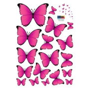 18 Vibrant Pink Butterflies Vinyl Home Wall Art Sticker Decals