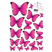 18 Vibrant Pink Butterflies Vinyl Home Wall Art Sticker Decals