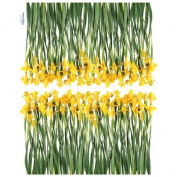 Reusable Decoration Wall Sticker Decal - Yellow Iris Flower