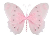 Hanging Butterfly 25.4cm Medium Pink Glitter Nylon Butterflies Decorations - Decorate for a Baby Nursery Bedroom, Girls Room Ceiling Wall Decor, Wedding Birthday Party, Bridal Baby Shower, Bathroom. Butterfly Decoration 3D Art Craft