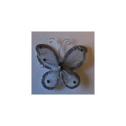24 Silver Organza Nylon Wire Butterfly Wedding Arts and Crafts Decorations 5.1cm Big
