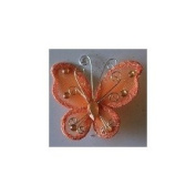24 Orange Organza Nylon Wire Butterfly Wedding Arts and Crafts Decorations 5.1cm Big
