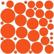 34 ORANGE POLKA DOTS...WALL STICKERS DECALS ART DECOR