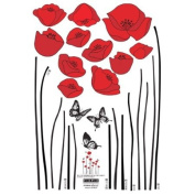 Nursery Easy Apply Wall Sticker Decorations - Red Flowers and Butterflies