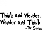 "Dr seuss Wall Decal Quotes Art Sticker ""Think and Wonder,Wonder and Think"" Nursery Wall Saying Sticker Mural Baby Kids room Wallpaper Decoration"
