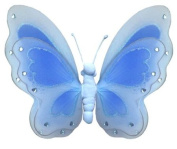 Hanging Butterfly 33cm Large Blue Painted Nylon Butterflies Decorations - Decorate for a Baby Nursery Bedroom, Girls Room Ceiling Wall Decor, Wedding Birthday Party, Bridal Baby Shower, Bathroom. Butterfly Decoration 3D Art Craft