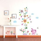 Modern House Patched Dog Backyeard Animal removable Vinyl Mural Art Wall Sticker Wall Decal