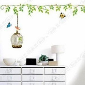 Wall Decor Removable Decal Sticker - Dancing Butterfly with Tree Branch