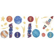 Blue Mountain Wallcoverings GAPP1783 Just for Kids Outer Space Self-Stick Appliqué