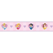 Blue Mountain Wallcoverings DS026296 Princess Heart Cameo Self-Stick Wall Border, 12.7cm by 4.57m