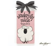Pink Baby Girl Wonderfully Made Ceramic Wall Hanging