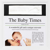 "Baby Art ""Day of Birth"" Newspaper Print Frame - White - keepsake gift"