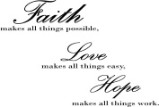 Faith Love Hope Wall Vinyl Sticker Decal Home Decor Lettering By Blue Monkey Graphics