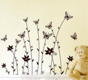 Rainbow Wall-stickers Wall Decor Removable Decal Sticker - Blown Flower Branches and Butterflies