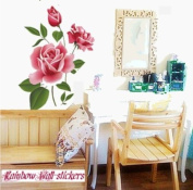 Wall Decor Removable Decal Sticker- Rose Blossom and Butterflies
