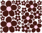 Brown with Pink centre Daisy Flower Wall Stickers, Decals, Decor