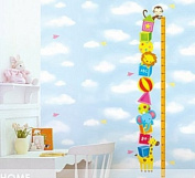 Wall Decor Removable Sticker -Animal Friends Height Measure Growth Chart