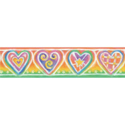 Blue Mountain Wallcoverings SR129411 Just for Kids Sweet Hearts Self-Stick Wall Border