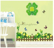 Rainbow Wall-stickers Wall Decor Removable Decal Sticker - Lucky Clover Fence and Butterflies