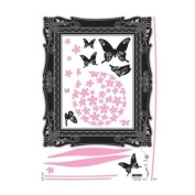 FRAME & BUTTERFLY Art Decor VELVET Wall Sticker