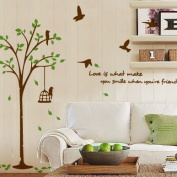 Rainbow Wall-stickers Wall Decor Removable Decal Sticker - Flying Birds Around the Tree