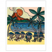 Matthew Porter Art Wall Decor Art Print, Hawaiian Hula Monkey