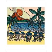 Matthew Porter Art Wall Decor Art Print, Hawaiian Hula Monkey
