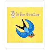 Matthew Porter Art Wall Decor Art Print, Alphabets, S is for Swallow