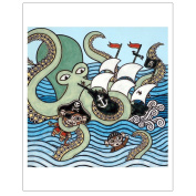 Matthew Porter Art Wall Decor Art Print, Sea Monster Attack Monkey