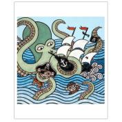 Matthew Porter Art Wall Decor Art Print, Sea Monster Attack Monkey