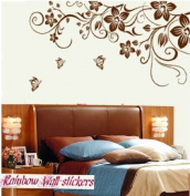 Wall Decor Removable Decal Sticker - X Large Black Flowers and Butterflies