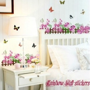 Rainbow Wall-stickers Wall Decor Removable Decal Sticker - Violet Flowers and Butterflies