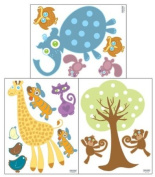 Baby Zoo Animal Wall Decals- Peel & Stick Removable Sticker Appliques'