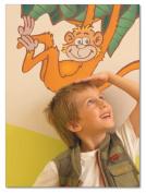 FunToSee Jungle Safari Children's Wall Decals, Monkey And Giraffe Scene