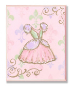 The Kids Room Dress with Fleur De Lis on Pink Rectangle Wall Plaque