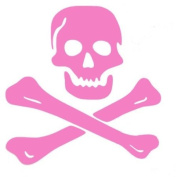 Pirate Skull and Crossbones Large Wall Decal Sticker Pink 55.9cm