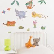 FunToSee Mini Wall Art Decals, Jungle Safari