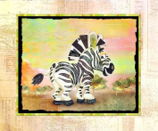 The Kids Room Zebra with Map Border Rectangle Wall Plaque