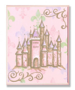 The Kids Room Castle with Fleur De Lis on Pink Rectangle Wall Plaque